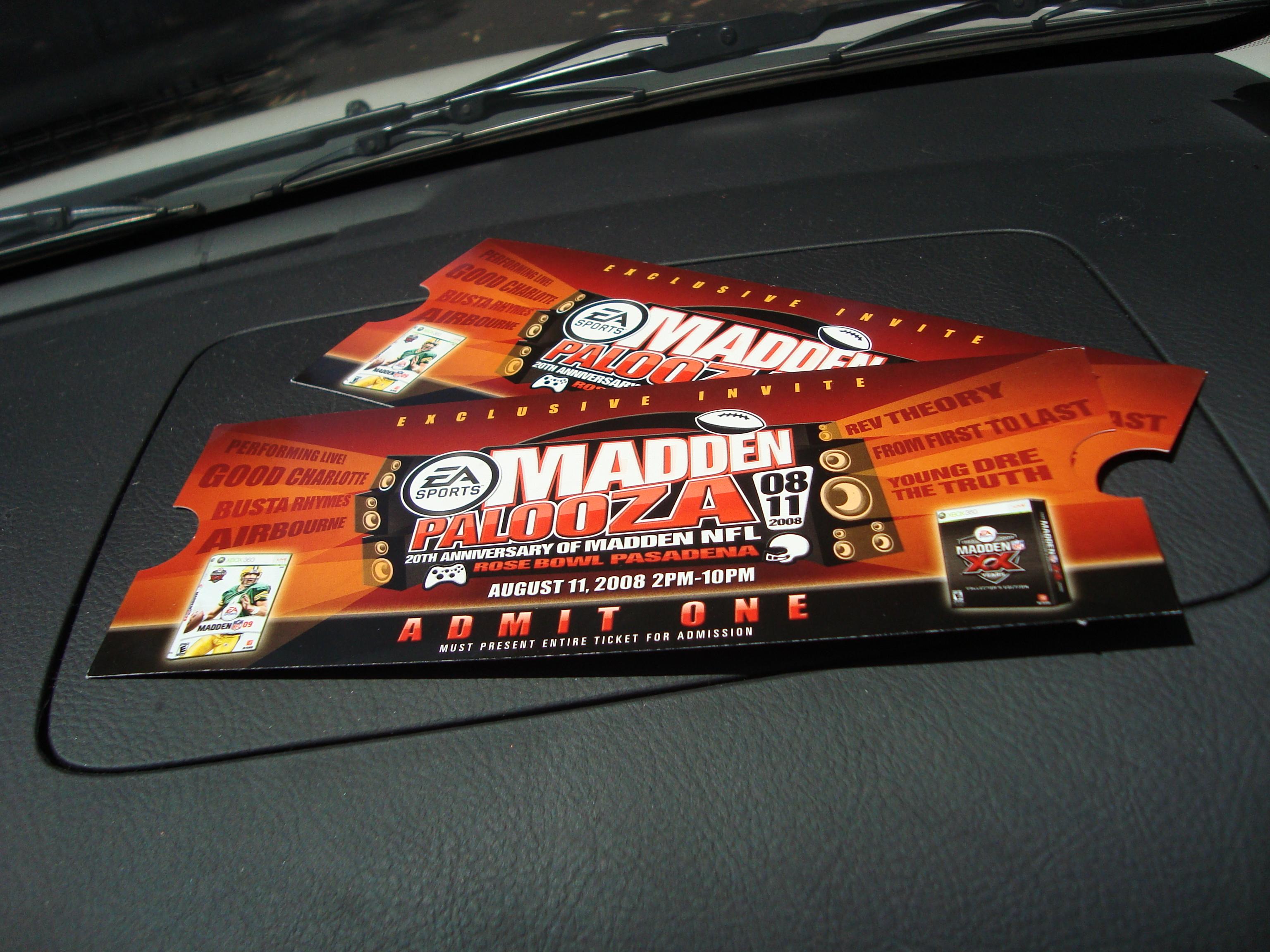 My MaddenPalooza Tickets